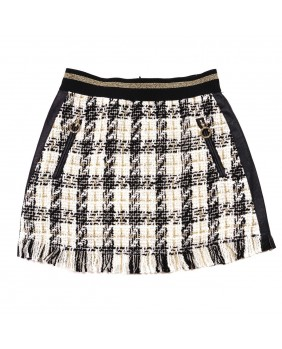 ELSY GIACCA CASUAL BIMBA IN PIED DE POULE E ECOPELLE